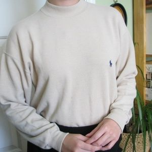Cream Ralph Lauren Polo Sport mock neck sweater